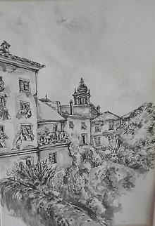 Kresby - Vejúce prádlo z okien domov  v Pontremoli - 11190280_