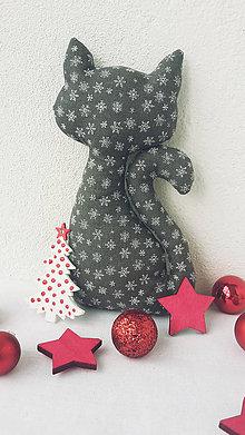 Dekorácie - Vianočná mačička s darčekom - 11192316_