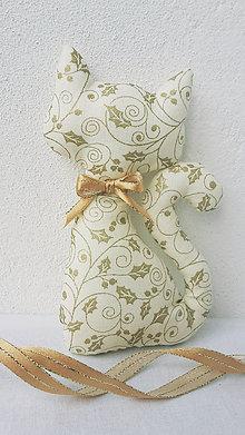 Dekorácie - Vianočná mačička krémovo zlatá - 11192361_