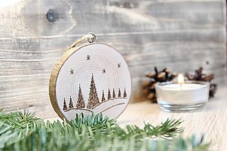 """Dekorácie - Drevená vianočná ozdoba """"Les"""" - 11190054_"""