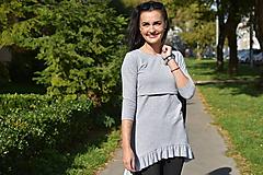 Tuniky - Asymetrická tunika na dojčenie s fodrou - sivá - 11189446_