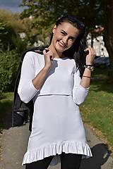 Tehotenské/Na dojčenie - Asymetrická tunika na dojčenie s fodrou - biela - 11189456_