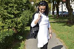 Tehotenské/Na dojčenie - Asymetrická tunika na dojčenie s fodrou - biela - 11189458_