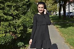 Šaty - Teplákové šaty na dojčenie s fodrou - čierna - 11189778_