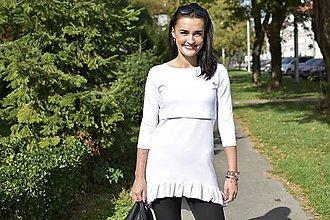 Tehotenské oblečenie - Asymetrická tunika na dojčenie s fodrou - biela - 11189457_