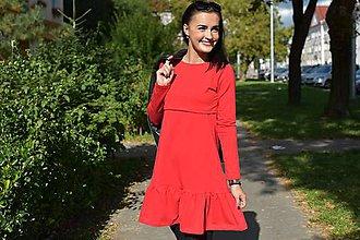 Tehotenské/Na dojčenie - Teplákové šaty na dojčenie s fodrou - červená - 11189753_