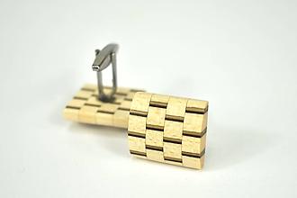 Šperky - Manžetové gombíky - javorová mozaika, nerez - 11191558_