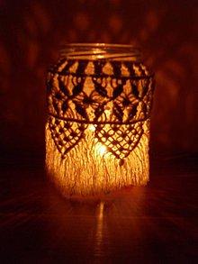 Dekorácie - Makramé dekorácia 4 na fľašu - 11189839_
