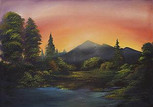 Obrazy - Tajomná krajinka - olejomaľba - 11190469_