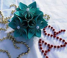 Dekorácie - Vianočná guľa (Tyrkysová) - 11189841_