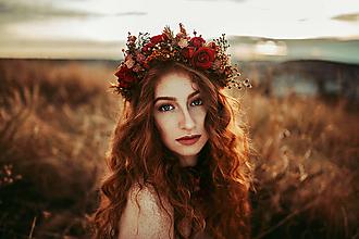 """Ozdoby do vlasov - Kvetinový polvenček """"legenda o vášni"""" - 11191159_"""