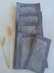 Úžitkový textil - Sada vrecúšok na chlieb a pečivo - tmavomodré - 11190755_