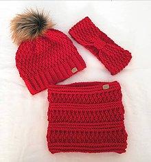 Detské súpravy - Červená súprava čiapočka, nakrcnik a čelenka - 11190451_