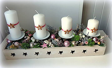 Dekorácie - Adventný svietnik ružovostrieborný - 11194069_
