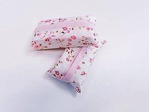 Taštičky - Prenosný obal / zásobník na papierové vreckovky ružičky - 11193317_
