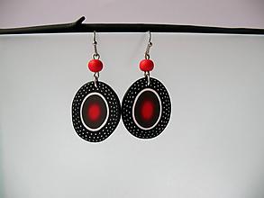 Náušnice - ,,Čierno-červené oválne,, - 11194838_