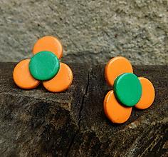 Náušnice - kvietočky napichovacie oranžové - 11192930_