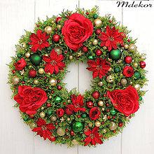 Dekorácie - Vianočný veniec v červenom - 11193128_