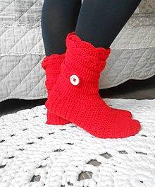 Obuv - Háčkované papuče v červenej - 11193770_