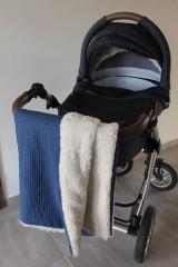 Textil - Detská deka Vafle tmavomodré s imitáciou ovčieho rúna, 12 farieb na výber,100x70cm, - 11192909_