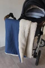 Textil - Detská deka Vafle tmavomodré s imitáciou ovčieho rúna, 12 farieb na výber,100x70cm, - 11192910_