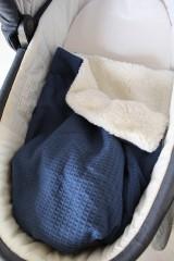 Textil - Detská deka Vafle tmavomodré s imitáciou ovčieho rúna, 12 farieb na výber,100x70cm, - 11192914_