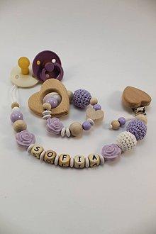 Detské doplnky - Set alebo samostatná retiazka s menom a hryzátko fialové - 11192882_