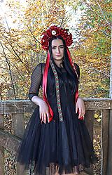 Ozdoby do vlasov - Folklórna kvetinová parta - červená - vínová - 11194500_