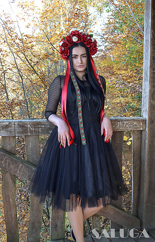 Folklórna kvetinová parta - červená - vínová