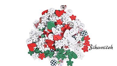Galantéria - Drevenné gombíky vianočný mix 50ks - 11195375_