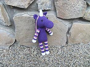 Hračky - Háčkovaný fialový jednorožec - 38cm - 11194640_