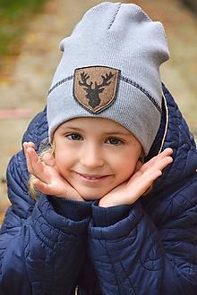 Detské čiapky - Flexi čiapka s aplikáciou-sivá svetlá - 11195101_
