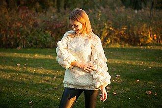 Svetre/Pulóvre - teplý ručnepleteny sveter oversize zľava vyprodej (Béžová) - 11193300_