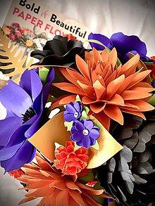 Dekorácie - Jesenna kytica papierovych kvetov - Halloween - 11194912_
