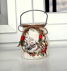 Svietidlá a sviečky - vianočný lampášik zimná krajinka - 11193906_