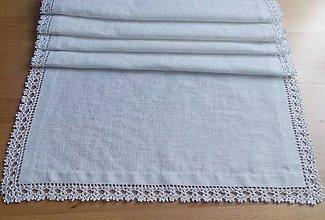 Úžitkový textil - *** Biely ľanový obrus Exkluzív *** (Obdĺžnik  138 cm x 50 cm) - 11197312_