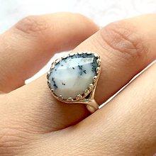 Prstene - Teardrop Faceted Dendritic Opal AG925 Ring / Strieborný prsteň v tvare slzy s dendritickým opálom - 11196319_