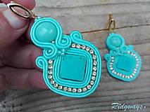 Náušnice - Turquoise/Gold...soutache - 11197428_
