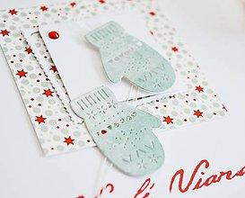 Papiernictvo - Vianočný pozdrav - mint rukavičky - 11197470_
