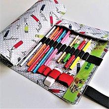 Taštičky - Rolovací peračník sivý bodkovaný  so vzorom ceruziek - 11198649_