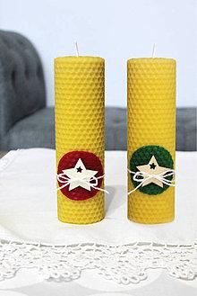Svietidlá a sviečky - sviečka z včelieho vosku veľká s hviezdou - 11198050_
