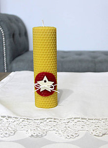 Svietidlá a sviečky - sviečka z včelieho vosku veľká s hviezdou (Červená) - 11198061_