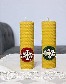Svietidlá a sviečky - sviečka z včelieho vosku veľká s vločkou - 11198078_