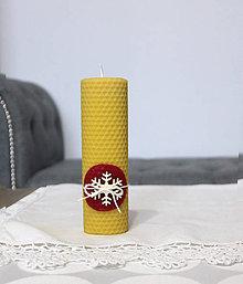 Svietidlá a sviečky - sviečka z včelieho vosku veľká s vločkou (Červená) - 11198084_