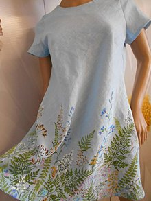 """Šaty - Maľované ľanové šaty """" Lúčne """"  (Maľované dámske ľanové šaty """" Lúčne """") - 11195601_"""