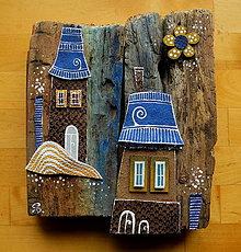 Dekorácie - Domy modré strechy - 11196144_