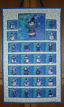 Dekorácie - Adventný kalendár SNEHULIACI (modro-zelený) - 11197982_