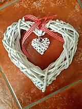 Polotovary - Ratanové prútené srdce biele - 11198453_