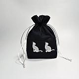 Úžitkový textil - Bavlnené vrecúško vyšívané mačky - 11196077_