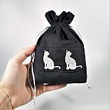 Úžitkový textil - Bavlnené vrecúško vyšívané mačky - 11196078_